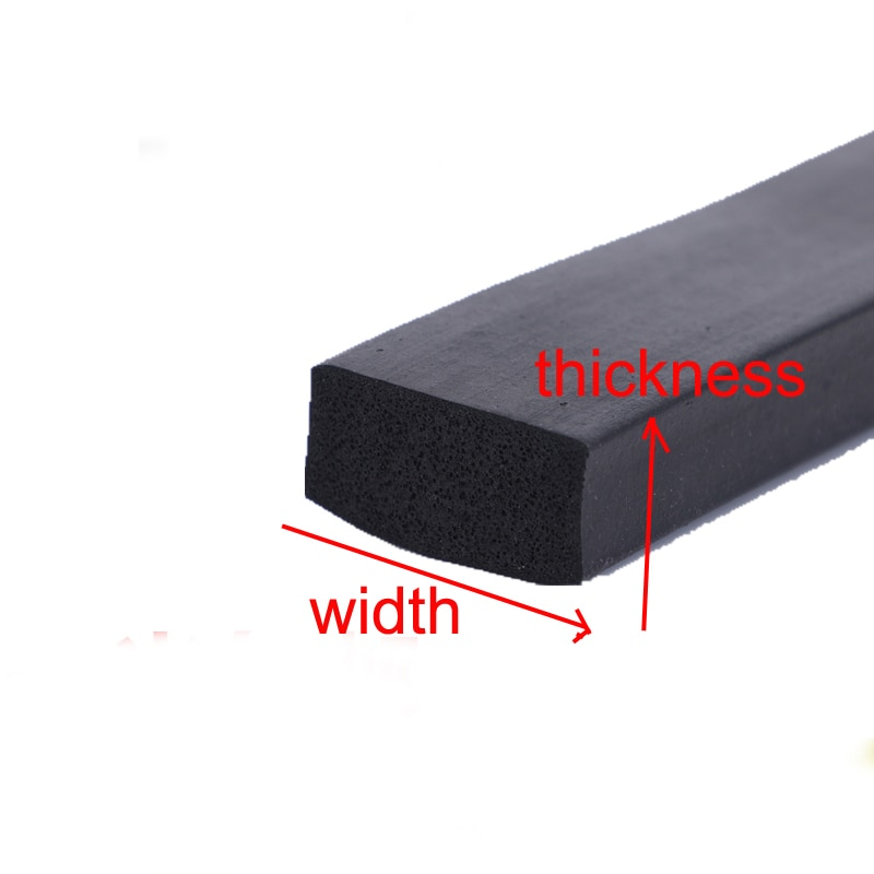 Tira cuadrada negra de la Junta de barra de goma plana EPDM de la ventana de la puerta del Gabinete de 1 metro (tamaño: grosor x ancho)