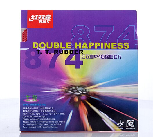DHS 874 (ataque rápido + bucle) Pips medianos-Out tenis de mesa (PingPong) Goma con esponja