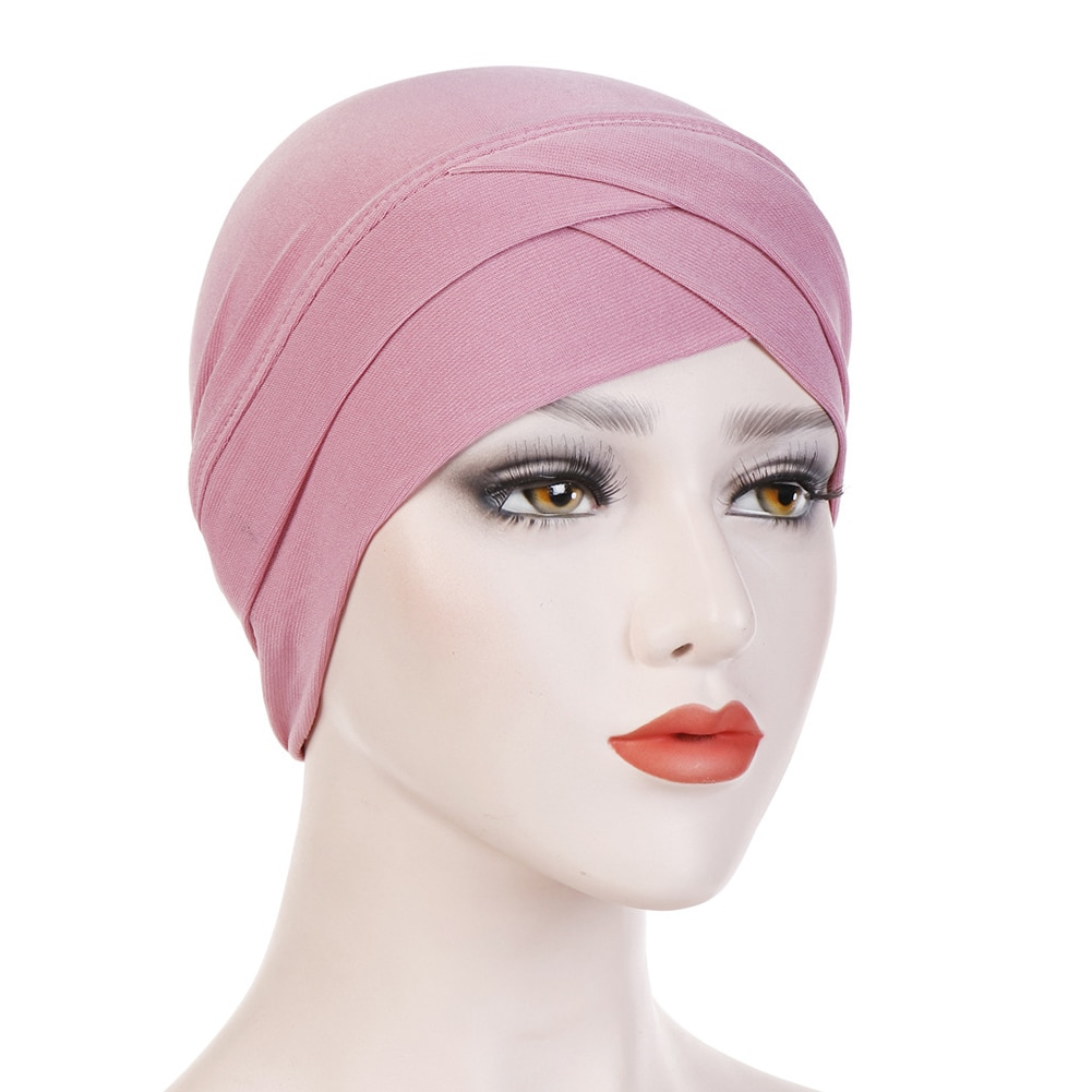 Women Stretchy Turban Hat Cross Head Wrap Cotton Hijab Cap Solid Color Soft Headscarf Fashion Muslim Hats Scarf High Quality New