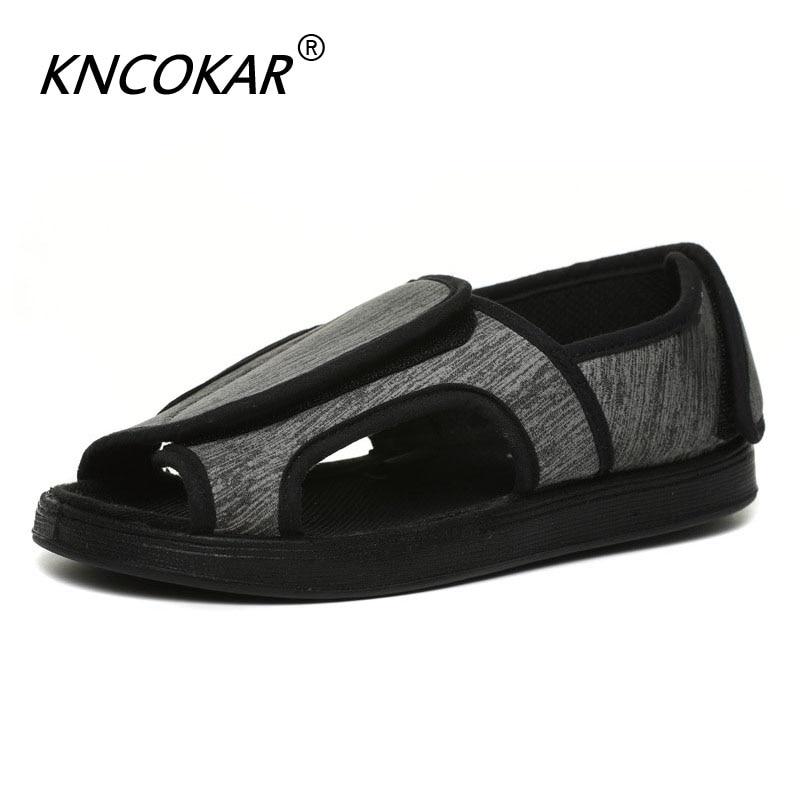 Médio e Pessoas Sapatos de Pano Kncokar Idosas Ampliar Ajustável Sandália Pés Inchaço Grande Gordura Deformação Polegar Diabetes X1080