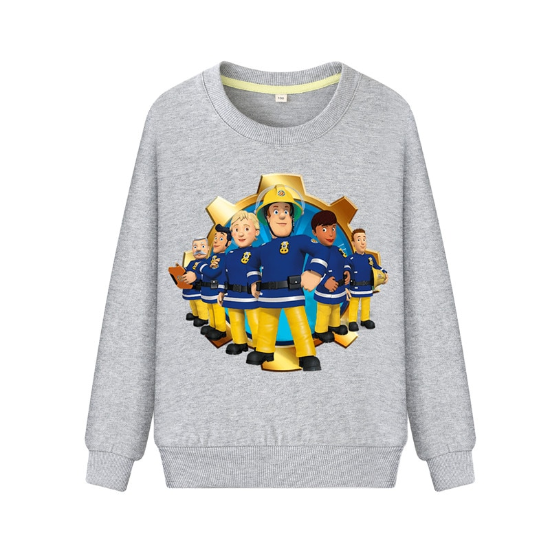 Sudaderas de manga larga para niños, sudaderas con estampado de dibujos animados de bombero Sam, sudaderas de otoño para niños, ropa de Jersey para niñas, abrigos informales ZB077