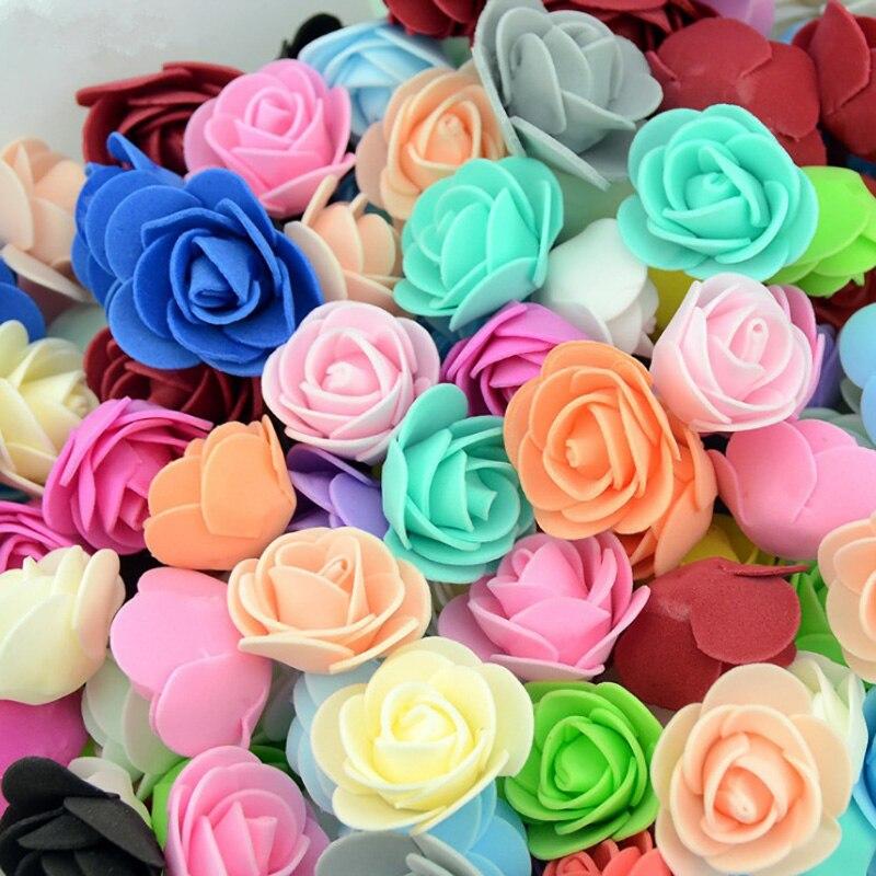 100 Uds rosas de espuma PE cabeza 3 cm flores artificiales para el hogar de la boda hecho a mano decoraciones de la corona de flores rosa Oso De Rosa flor