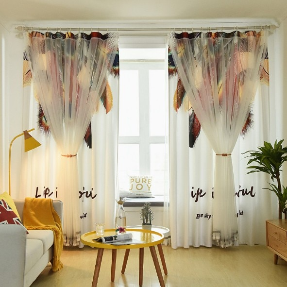 Cortina Para O Quarto Sala de estar moderna Tropical Pena Impresso Voile Cortina de Pano Cortinas de Tule Cortinas de camada Dupla