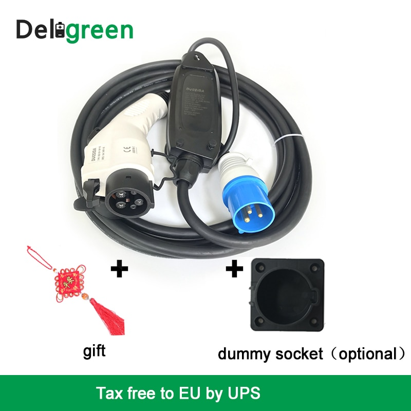 portable-duosida-type1-fast-dc-ev-chargers-single-phase-with-blue-cee-connectors-plugs-sockets-leads-for-electric-vehicle