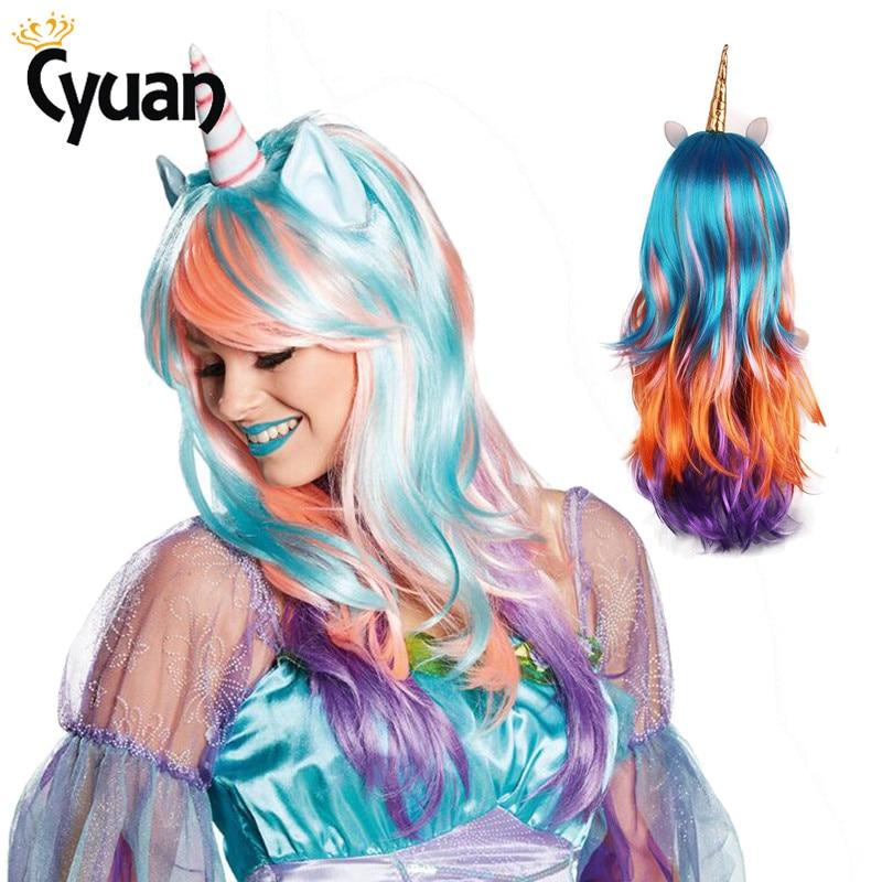 Arco Iris unicornio cuerno oídos rizado largo pelucas Custume falso Cosplay del pelo despedida de soltera decoración de fiesta de Carnaval mascarada fiesta regalo