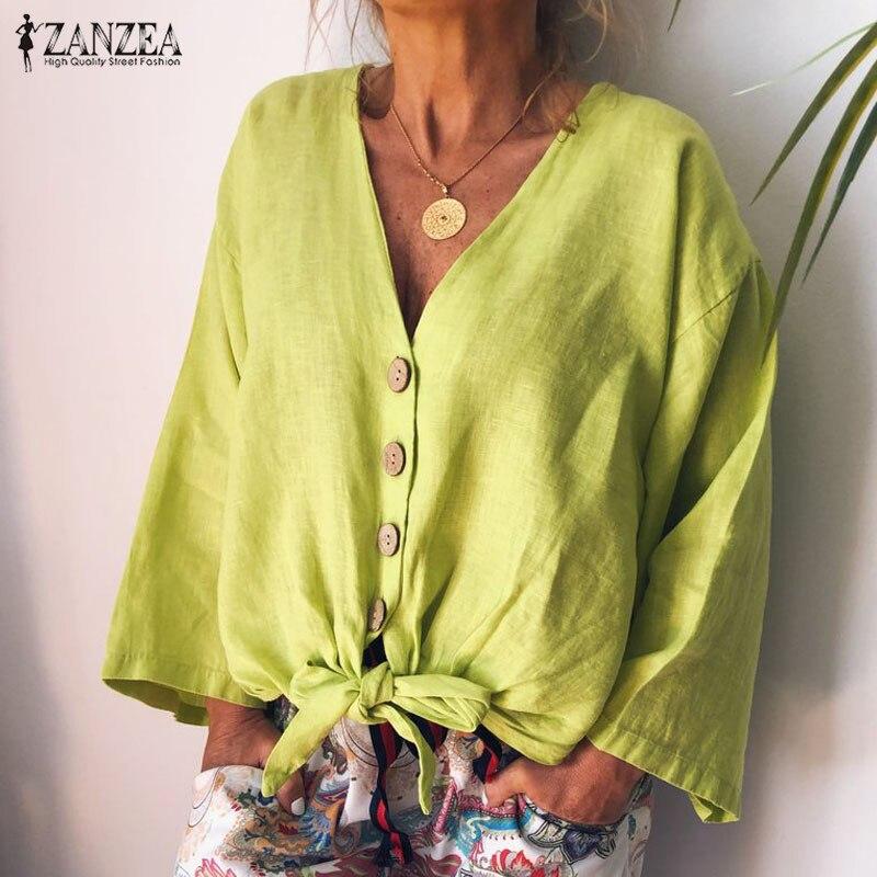 2019 ZANZEA Mode V Neck Blusas Mujer Frauen Bluse Herbst Vintage Taste Unten Bogen Tunika Weibliche Lange Hülse Hemd Baumwolle top