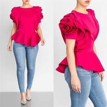 2018 O Neck Solid Sexy Ruffled Blouse Shirt Women Casual Irregular Blouse Rose Petal Sleeves OL Blouse Chemise Female Blusas