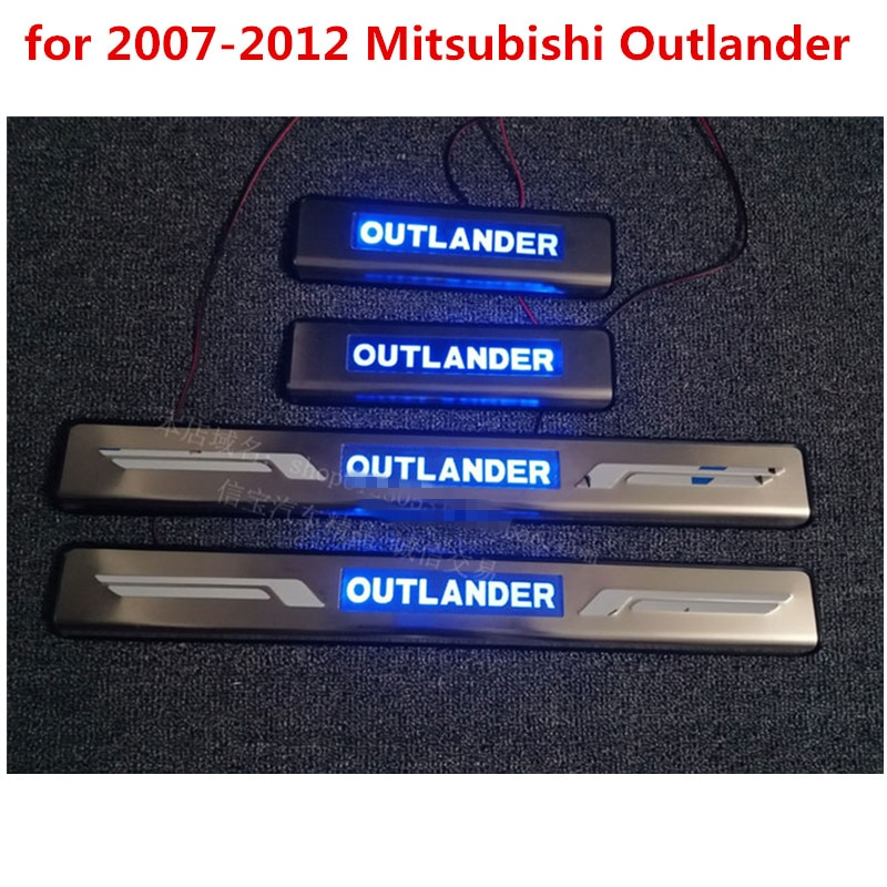 LED azul para alféizar de puerta lateral placa de desgaste para 2007-2012 Mitsubishi Outlander autopartes
