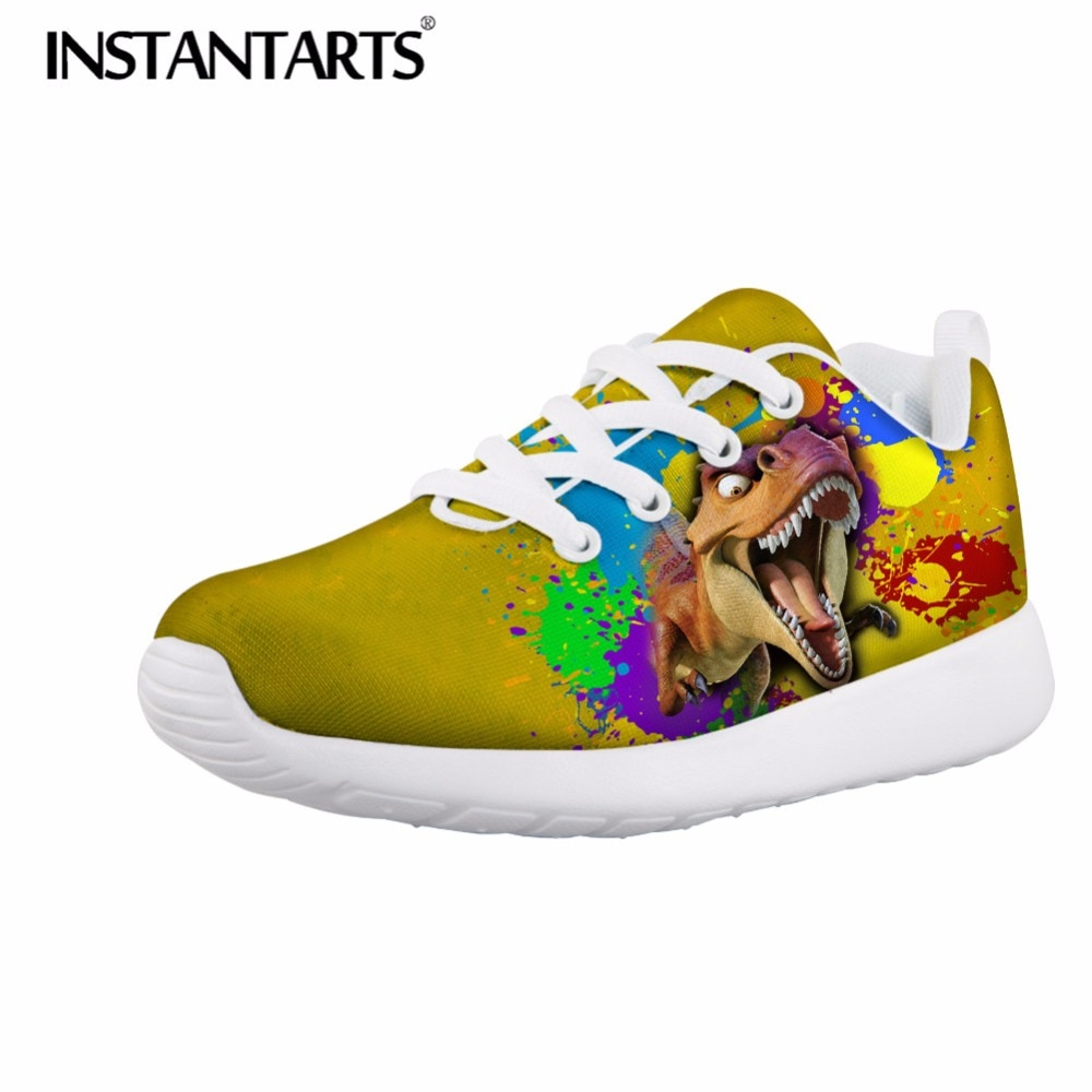 INSTANTARTS Children casual Sneakers 3D Cool Animal Dinosaur Print Teenager Girl Boy Flats Shoes Galaxy Animal Air Mesh Sneakers
