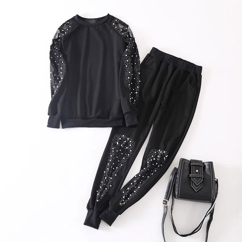 2021 Spring New Two Piece Set Women Mesh Pearl Rhinestone Set Threaded Sleeve Plus Size Stretch 2 Pcs Set Women Tracksuit CX14