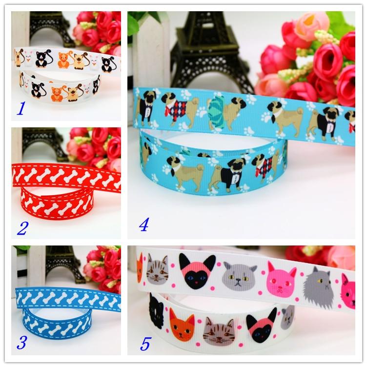 DHK 7/8'' 5yards pull dog bone cat printed grosgrain ribbon headwear hair bow diy party decoration OEM Wholesale 22mm C1157