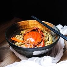 ANTOWALL Japanese style 8 inch soup bowl of miso ramen salad bowl ceramic retro tableware big bowl