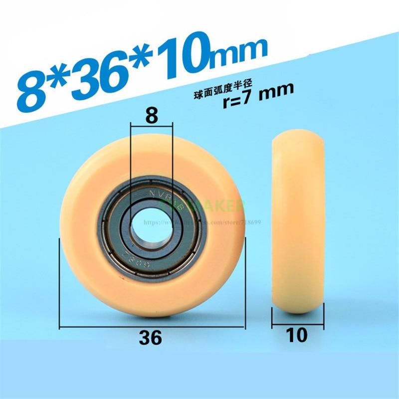 8*36*10mm M6*36*10mm M8 608ZZ plastic bearing pulley, nylon PA66 polyformaldehyde POM, drawer / track guide wheel roller