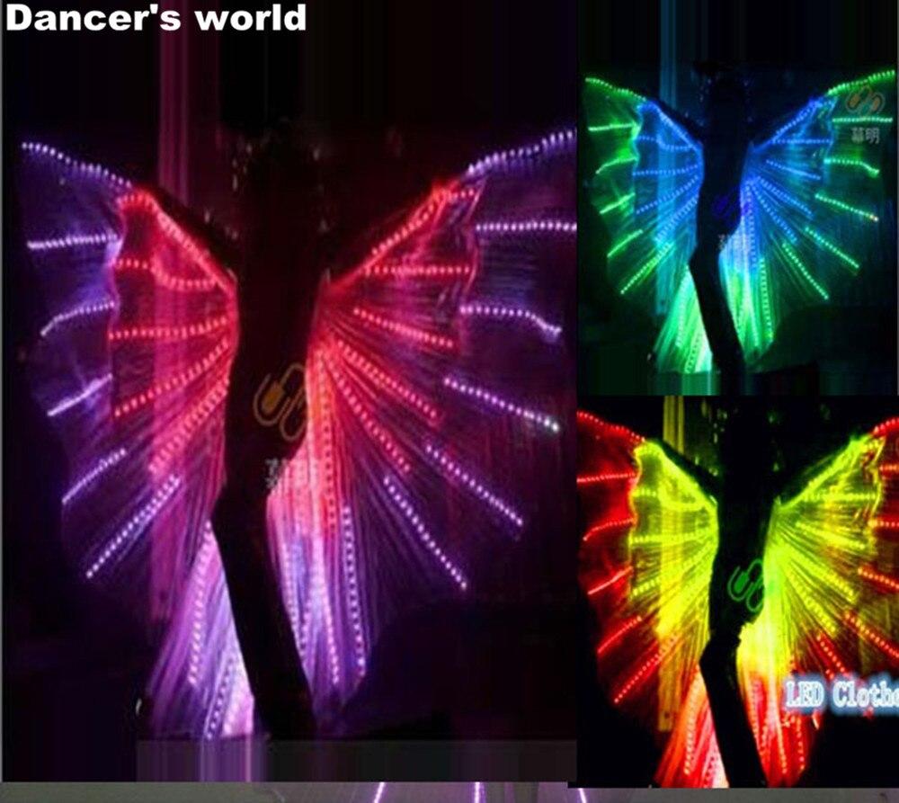 أزياء رقص LED للنساء ، أجنحة بطن LED ، أداء مسرحي ، زي فراشة LED ، إيزيس ، أجنحة مضيئة ، زي كرنفال
