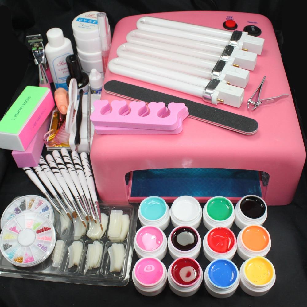 Pro 36W UV GEL Pink Lamp & 12 Color UV Gel Practice Fingers Cutter Nail Art DIY Tool Kits Sets #23set
