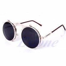 Gafas de Sol Unisex góticas Steampunk para hombre Gafas de Sol espejadas con revestimiento circular Gafas de Sol Retro Vintage Gafas de Sol