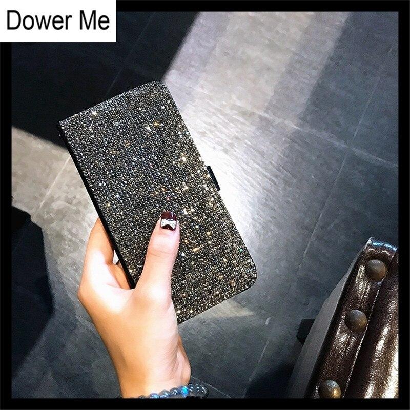 Кожаный чехол-бумажник Dower Me, полностью блестящий черный Чехол ручной работы со слотом для карт со стразами, для iPhone 11 Pro Max XS Max XR X 8 7 6 6S Plus 5 SE