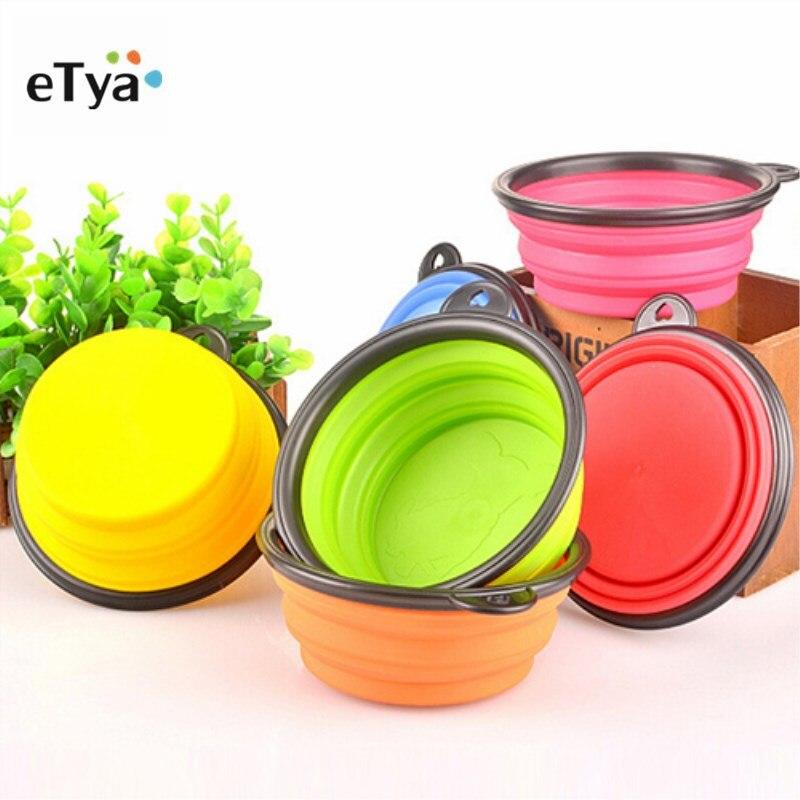 ETya 1 шт. силиконовая складная дорожная собачья миска, Складная Высококачественная пищевая вода, миски для домашних животных