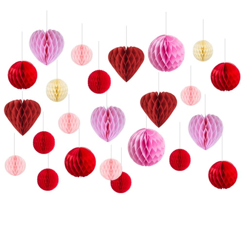 24 Uds. Kit de decoración de papel de boda Rosa rojo, bolas de papel de nido de abeja, bolas de papel de seda, decoración colgante para el Día de San Valentín de la boda