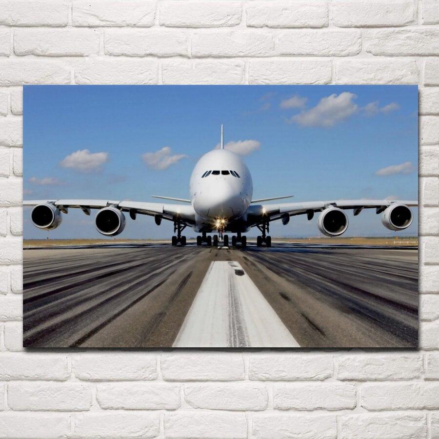 A380 airliner super große flugzeug flugzeug transport blau sky QX013 wohnzimmer hause wand kunst dekor holz rahmen stoff poster