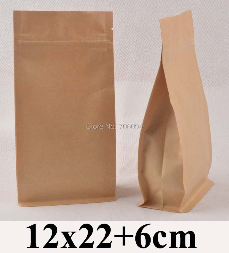 100 Uds. 12*22 + 6cm base plana bolsa ziplock kraft 4,7 * 8,7 lado fuelle cremallera bolsa kraft café té nueces bolsa de papel kraft