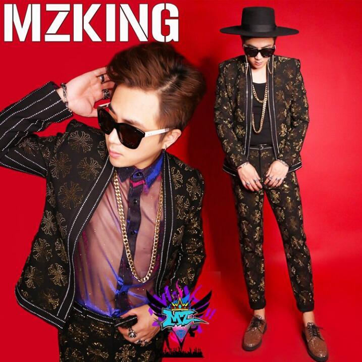 Terno fino masculino jaqueta boate dj desempenho bar roupas masculino cantor lantejoulas palco traje
