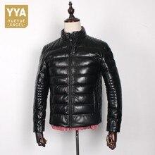 남자 높은 품질 양모 다운 코트 스탠드 블랙 슬림 짧은 진짜 가죽 자 켓 패션 따뜻한 겨울 정품 가죽 겉옷