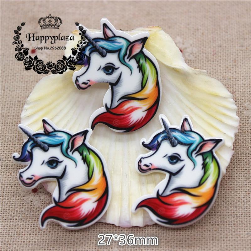 10pcs Kawaii Unicorn Resin Planar Flat back Art Decoration Charm Craft DIY Hair Ornament Accessories,27*36mm