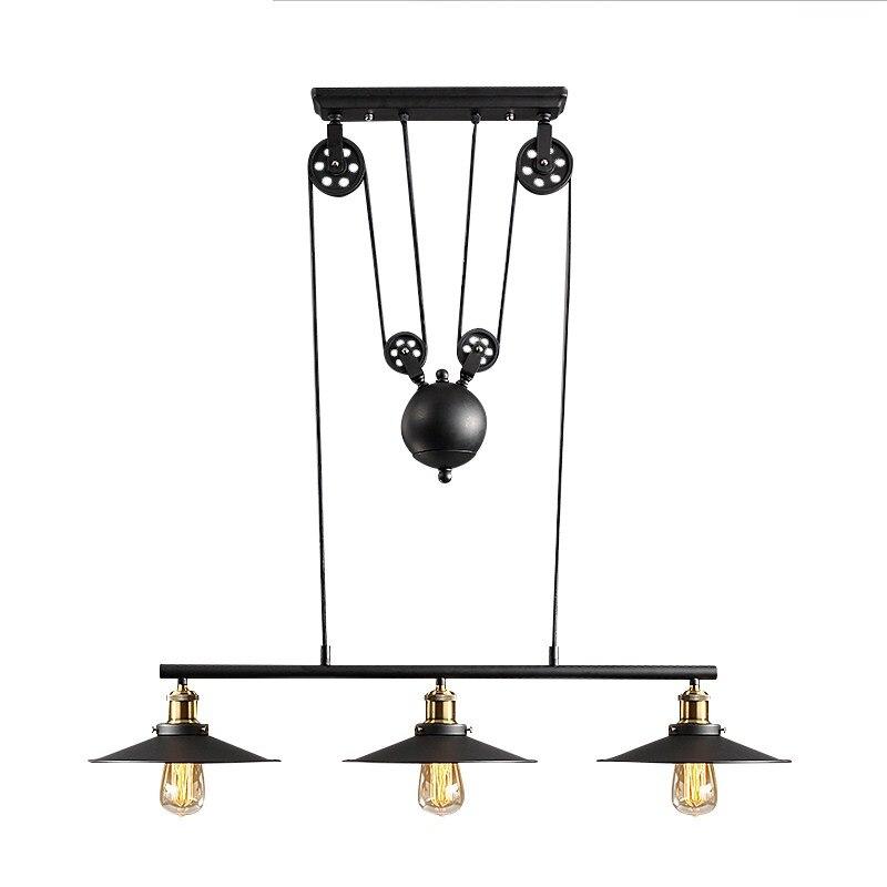 Loft lampes suspendues réglables 3 têtes fer noir Edison lampes suspendues pour salon étude Suspension lampes suspendues Antique PA0397