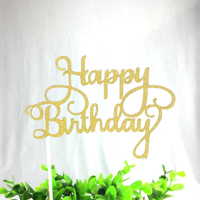 1 шт., блестящий Топпер для торта «С Днем Рождения» для торта, Золотой флаг для торта, для семейного дня рождения, украшения для выпечки
