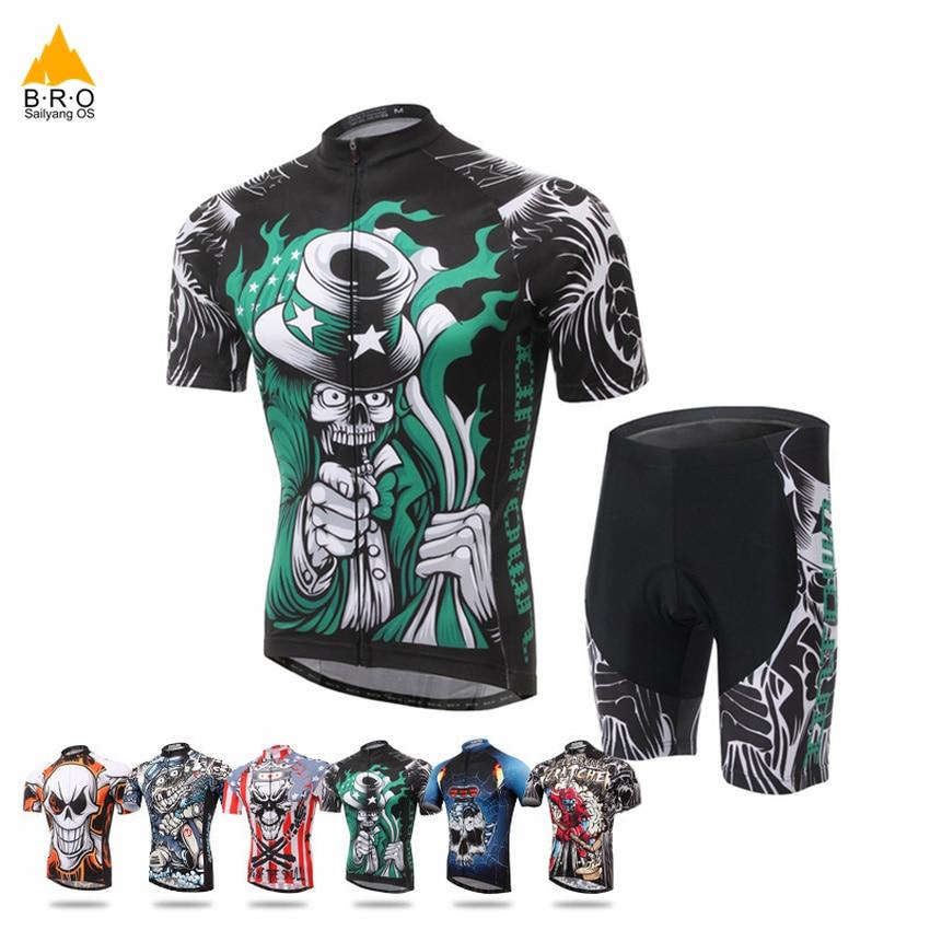 Conjunto de camisetas y pantalones cortos para ciclismo, transpirables, de secado rápido, para verano