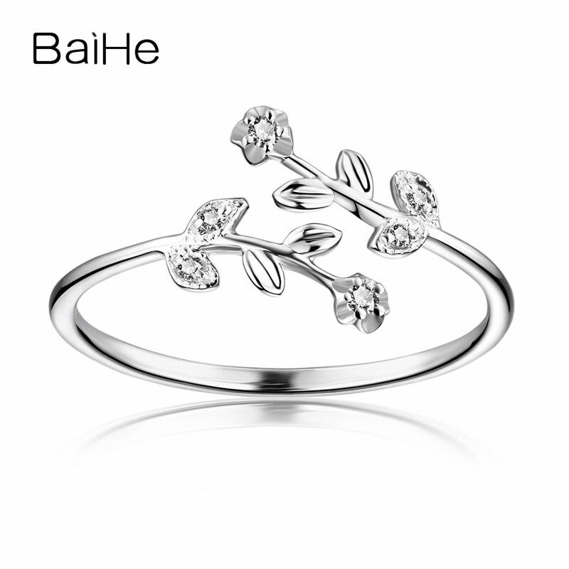 BAIHE sólido 14k oro blanco mujeres diamantes anillo de compromiso flor hoja boda mujeres aniversario San Valentín cumpleaños