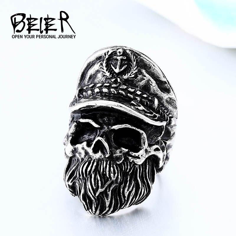 Мужское кольцо с черепом BEIER, модное кольцо из нержавеющей стали золотого цвета в стиле хип-хоп, в стиле хип-хоп, BR8-561