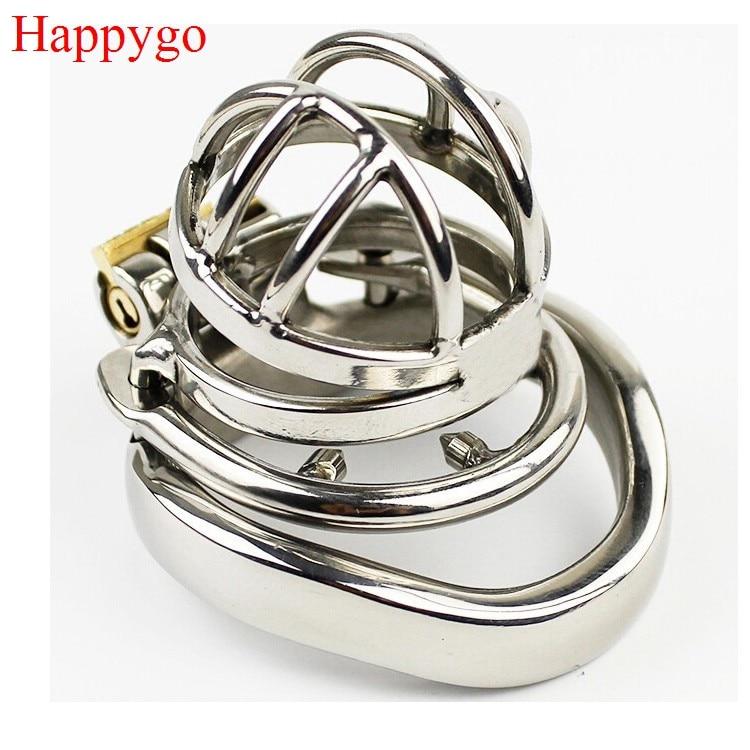 Happygo de acero inoxidable de bloqueo invisible hombre Dispositivo de Castidad con Anti-derramamiento anillo de Polla jaula cinturón de virginidad pene anillo A273-1