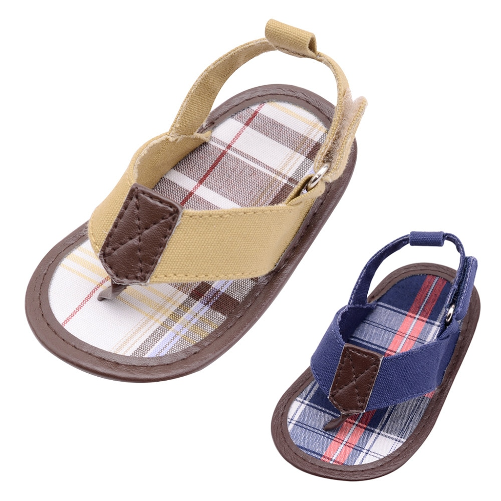 2020 Новинка, холст, детская обувь, клетчатая нашивка, от 0 до 18 месяцев, летняя стильная обувь для маленьких мальчиков на липучке