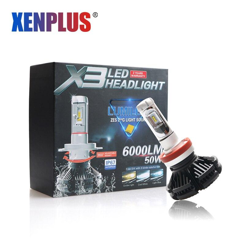 Xenplus H11 LED Scheinwerfer H7 H4 H9 H8 H27 880 9003 HB2 HB3 9006 9007 Auto licht 6000LM 50W 12V X3 ZES Super helle 6500K 8000K