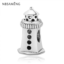 NBSAMENG 100% 925 Sterling Silver Bead Charm Lighthouse Charms Fit Original European Pandora Women Bracelet  DIY Jewelry