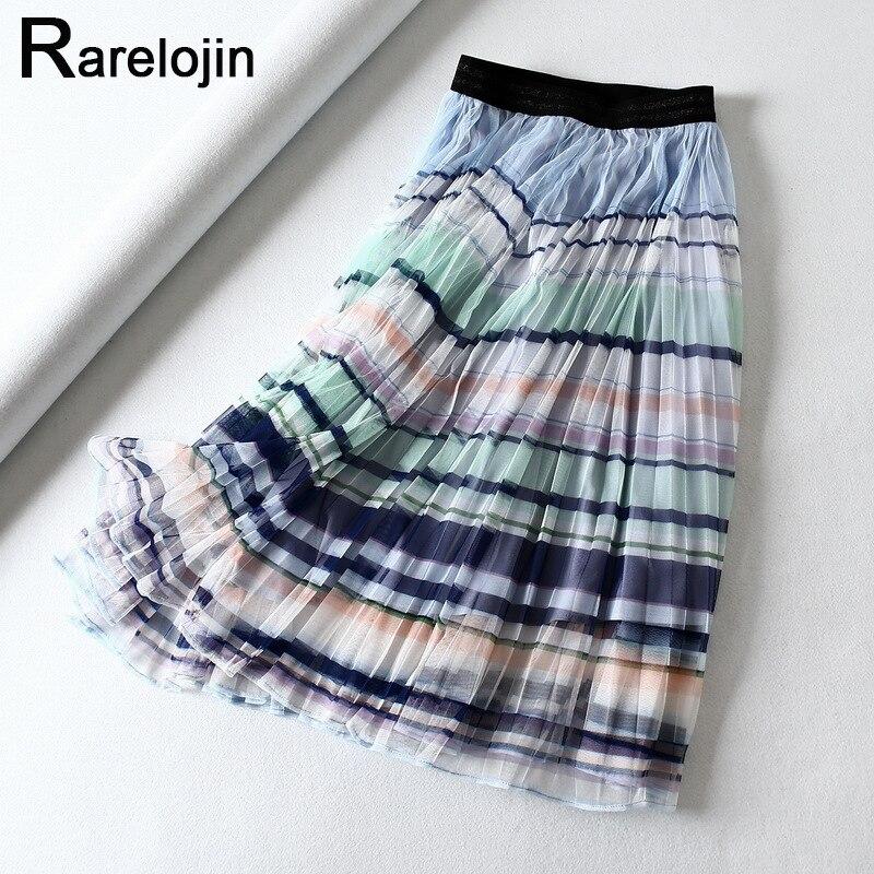 Falda de verano 2019 falda de moda de mujer falda de cintura alta Arco Iris rayado malla plisada falda de mujer faldas midi ropa de falda de mujer
