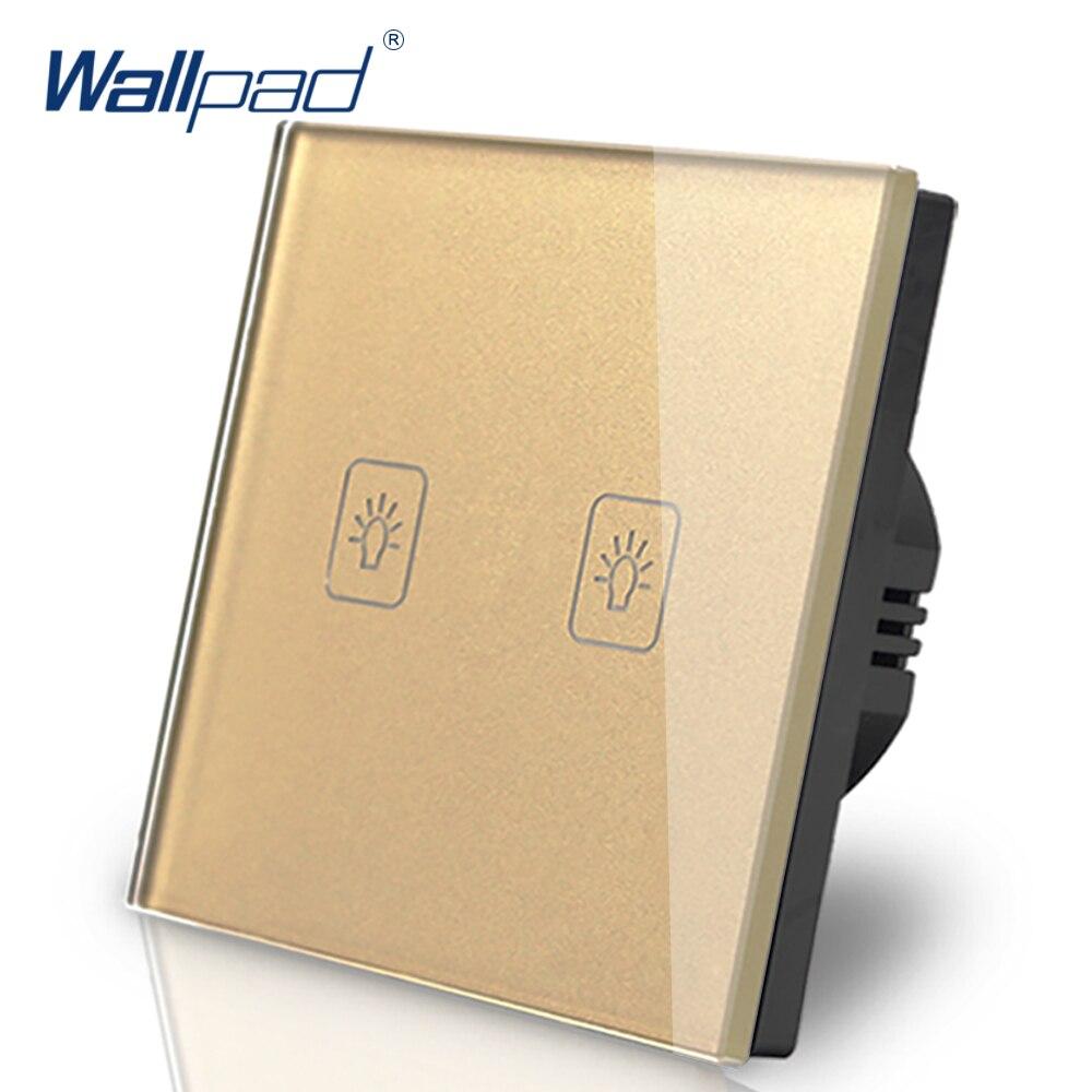 Interruptor europeo 2 Gang 1 Way, estándar europeo 86, Wallpad, cristal dorado, LED, interruptor de pared táctil, Panel 2 Gang Eu, envío gratis