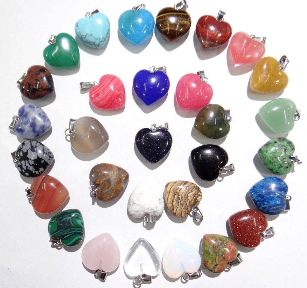 Natürliche stein Türkisen Verkrustete Quarz Kristall tiger eye Opal lapis herz anhänger für diy Schmuck machen Halsketten Accessories24PCS A2