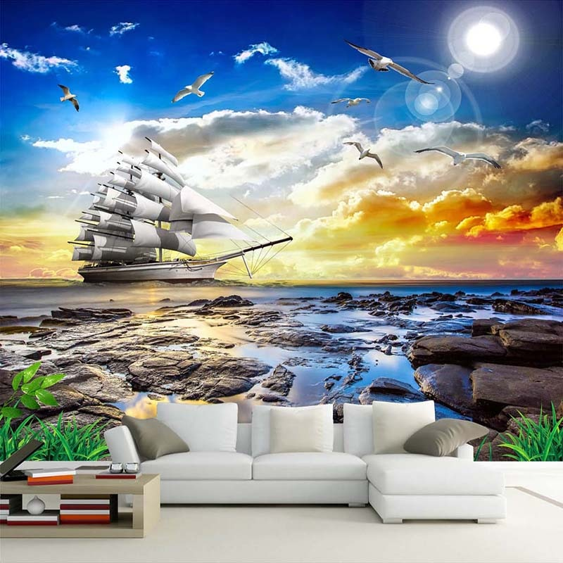 Пользовательских фото настенные Бумага 3D вид на море Чайка парусник восход пейзаж, живопись Гостиная диван Спальня настенная де Parede 3D