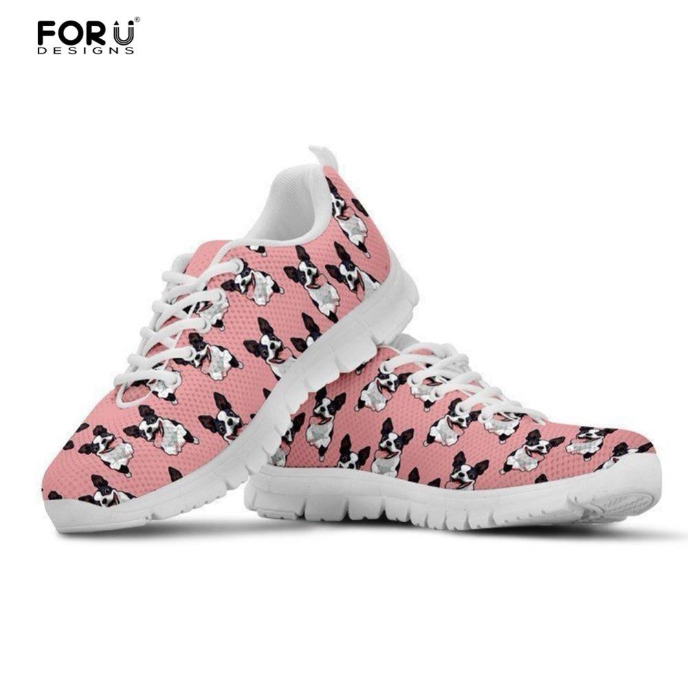FORUDESIGNS, zapatillas de deporte de moda con estampado Rosa Boston Terrier, zapatos planos informales para chicas adolescentes, zapatos de malla para mujer