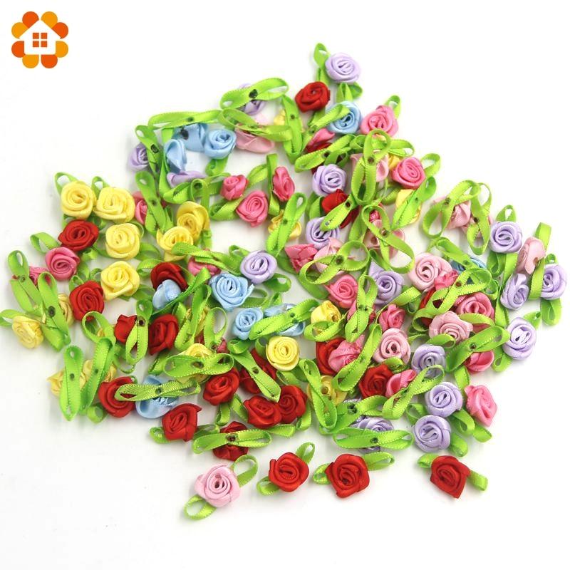 100 unids/lote pequeño DIY cinta de satén rosas flores apliques Scrapbooking costura hecha a mano para el hogar boda fiesta decoración artesanal