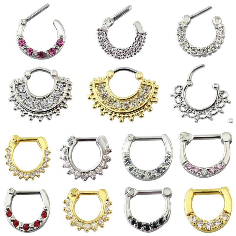 Anillos de Nariz de acero inoxidable 14g 16g Septum Clicker Bull Ring de moda Color oro plata tabique nasal anillo cuerpo Piercing joyería