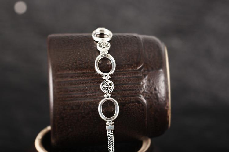 Plata de Ley 925 mujeres pulsera cadena Semi montaje para 10x12mm Oval cabujón joyería fina