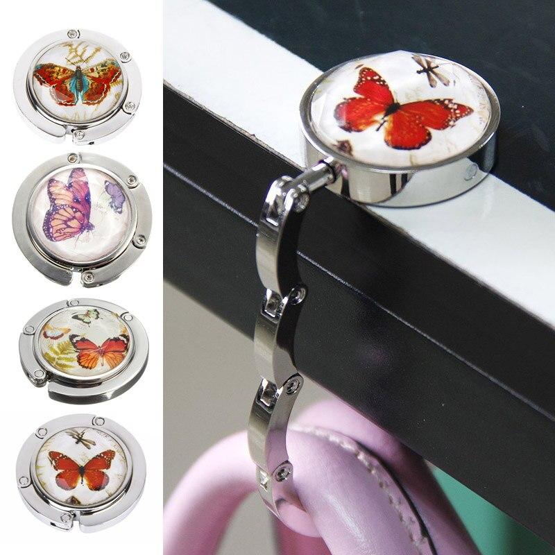 De Metal portátil plegable bolso del gancho del monedero BOLSA DE GANCHOS PARA monedero gancho bolso de bolsa de mesa plegable gancho mariposa