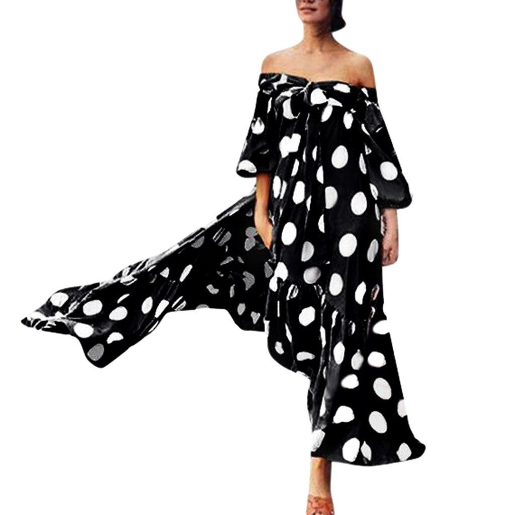 MIARHB NOVEDAD DE VERANO moda mujer Polka Dot estampado Empire hombro frío encaje lazo con volante vestido con cuello barco envío gratis N4