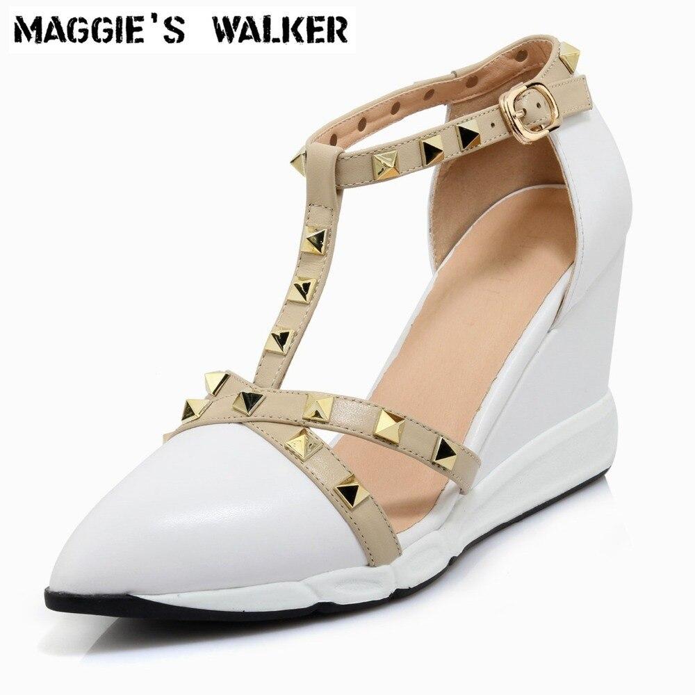Maggie's Walker-حذاء نسائي بكعب عالٍ من الجلد الطبيعي مع إسفين ومسامير ، وأحذية عصرية ، بنمط ريترو ، مقاس 35 ~ 39 ، لفصل الربيع