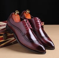 miubu fashion patchwork brogue shoes carved upper breathable business shoes pointed toe lace up formal dress shoes 2020 new