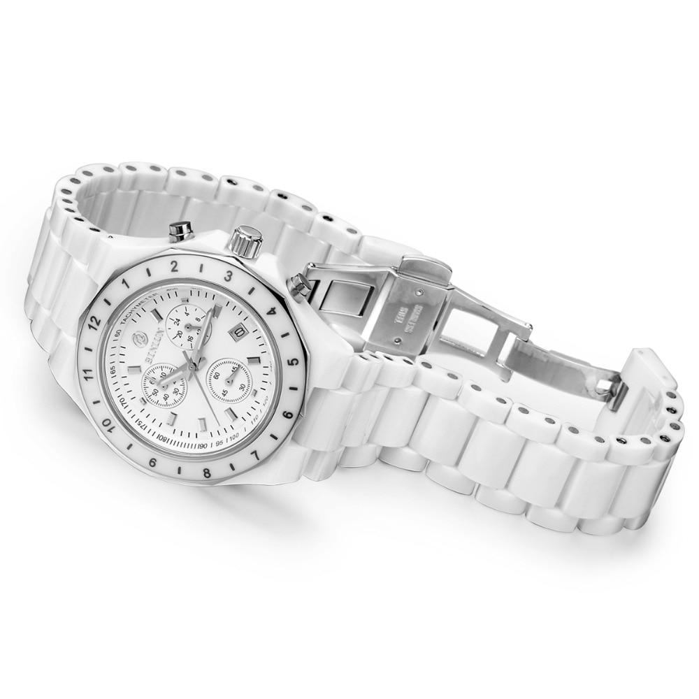 BINLUN Pure White Ceramic Women Quartz Watches Seconds Timer Auto Date Female Sports Watch Waterproof Swimming Lady Wrist Watch enlarge